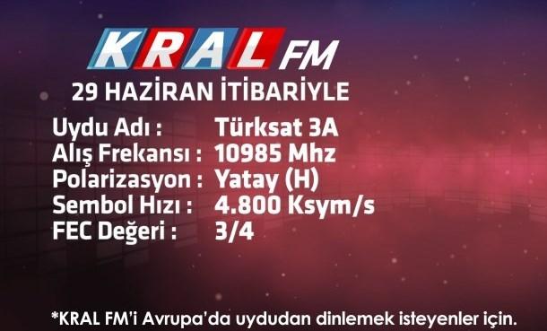 Kral  Fm Avrupa'da Türksat 3A Uydusunda!