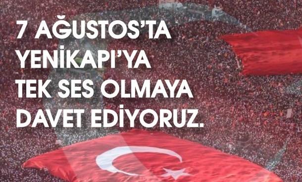 7 Ağustos'ta İstanbul  YeniKapı'da Buluşuyoruz!